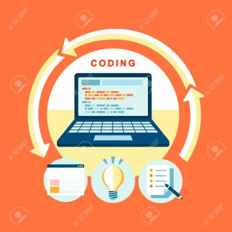 26697126-flat-design-concept-of-process-web-page-coding-and-programming-Stock-Vector
